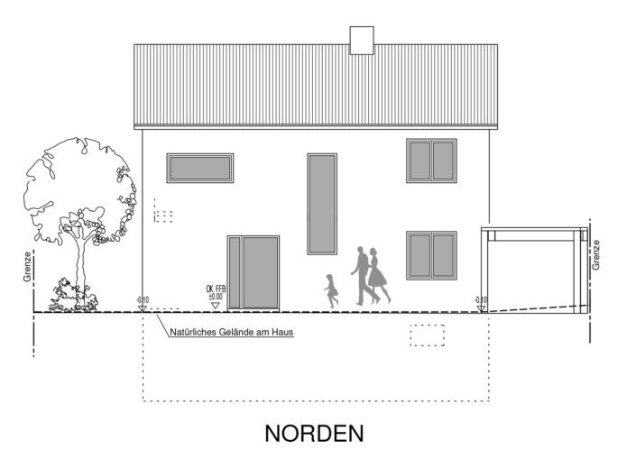 Einfamilienhaus mit 154 qm, Ansicht Nord