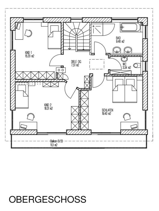 Einfamilienhaus mit 154 qm, Grundriss Obergeschoss