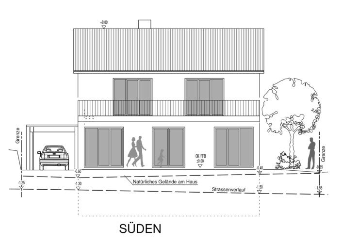 Einfamilienhaus mit 154 qm, Ansicht Süd
