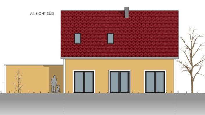 Einfamilienhaus mit 155 qm, Ansicht Süd