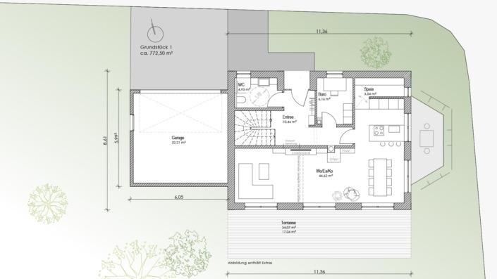 Einfamilienhaus mit 155 qm, Grundriss EG