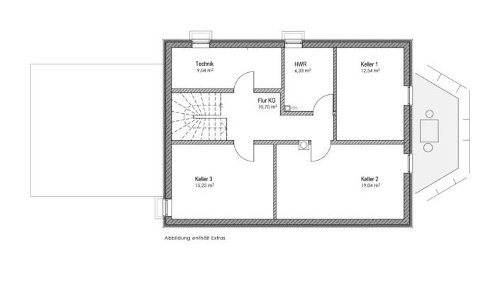 Einfamilienhaus mit 155 qm, Grundriss KG