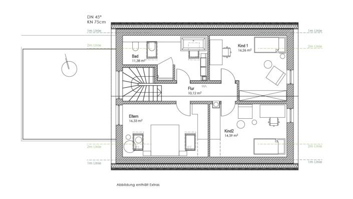 Einfamilienhaus mit 155 qm, Grundriss OG