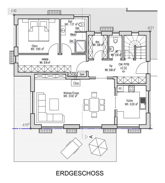 Einfamilienhaus mit 160 qm, Grundriss Erdgeschoss