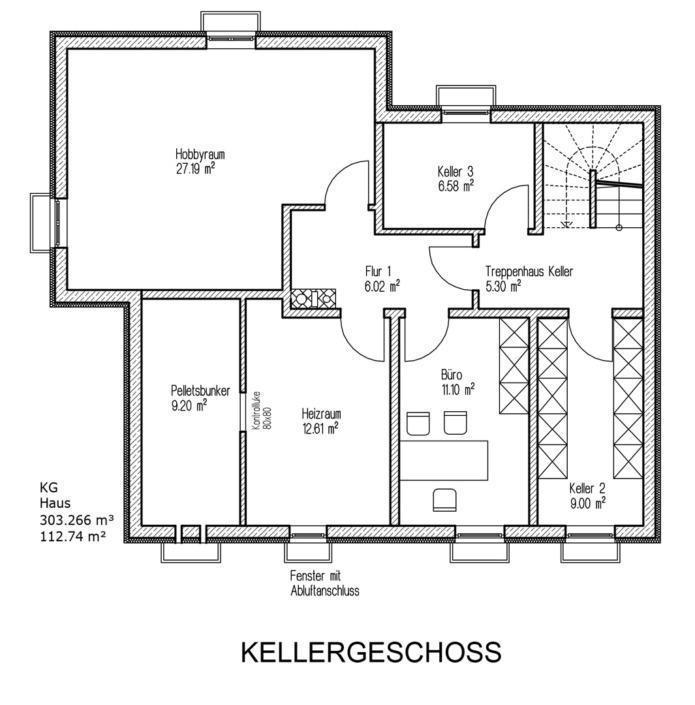 Einfamilienhaus mit 160 qm, Grundriss Keller