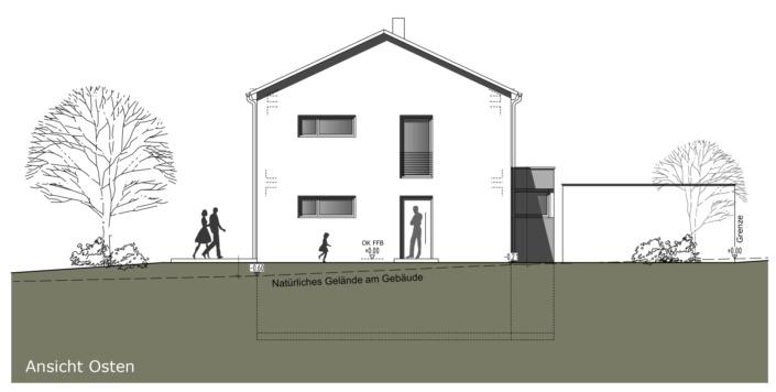 Einfamilienhaus mit 160 qm, Ansicht Ost