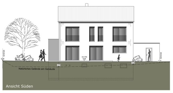 Einfamilienhaus mit 160 qm, Ansicht Süd