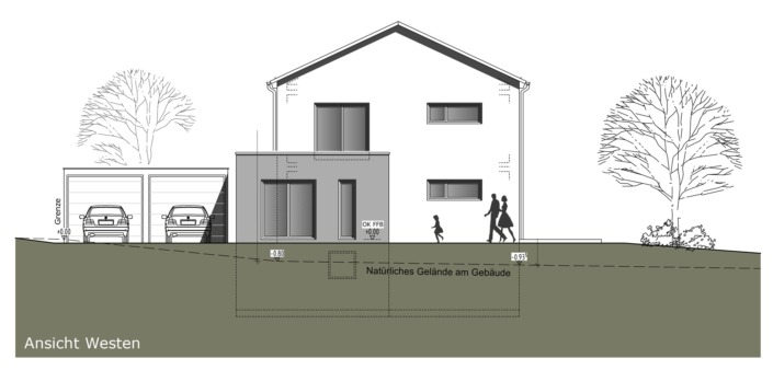 Einfamilienhaus mit 160 qm, Ansicht West