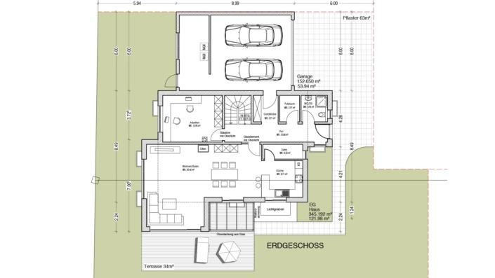 Einfamilienhaus mit 167 qm, Grundriss Erdgeschoss