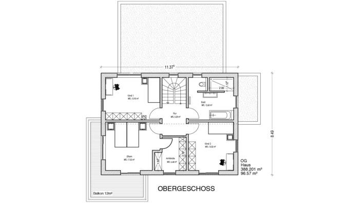 Einfamilienhaus mit 167 qm, Grundriss Obergeschoss