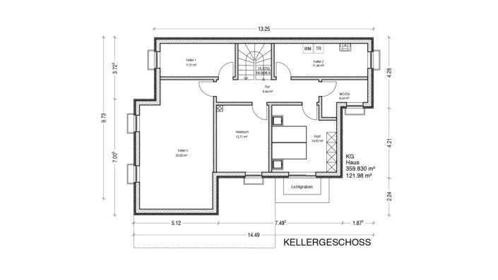 Einfamilienhaus mit 167 qm, Grundriss Keller