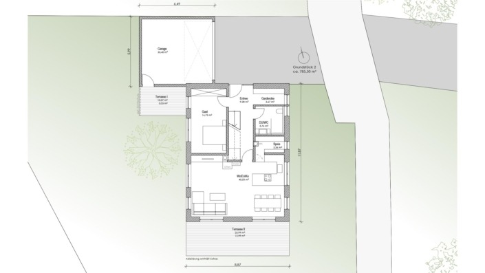 Einfamilienhaus mit 169 qm, Grundriss Lage