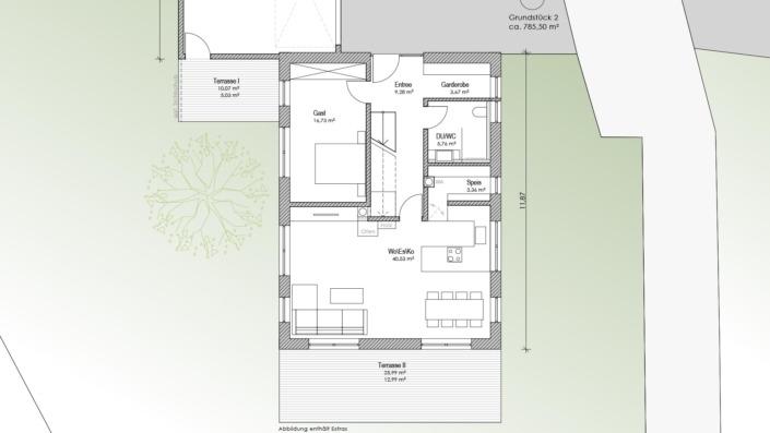 Einfamilienhaus mit 169 qm, Grundriss EG