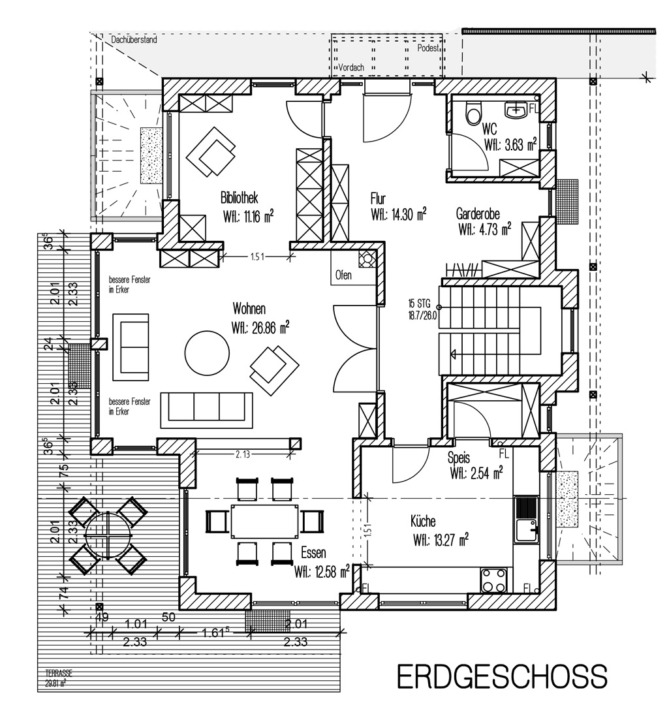 Einfamilienhaus mit 171 qm, Grundriss Erdgeschoss
