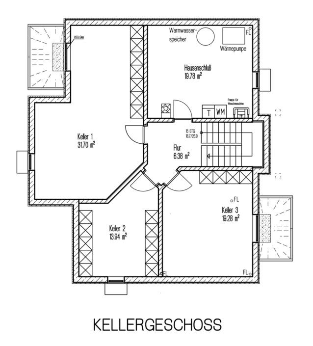 Einfamilienhaus mit 171 qm, Grundriss Keller