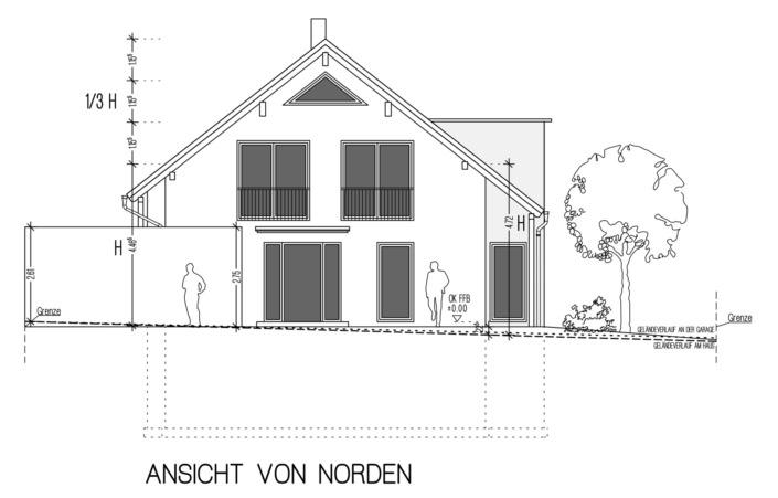 Einfamilienhaus mit 171 qm, Ansicht Nord