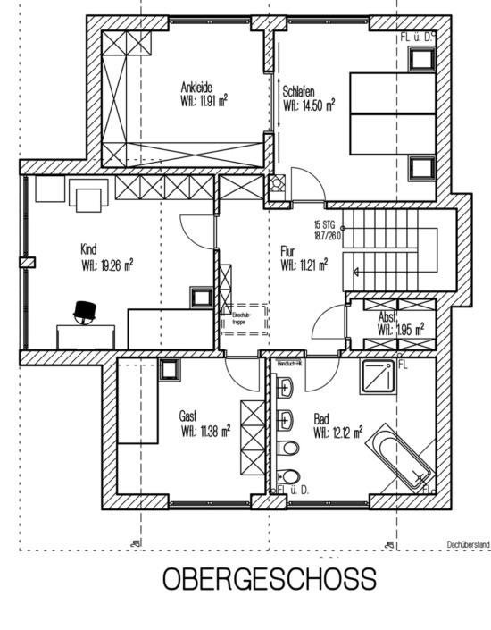 Einfamilienhaus mit 171 qm, Grundriss Obergeschoss