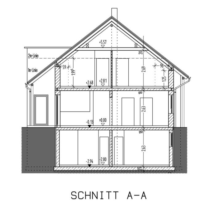 Einfamilienhaus mit 171 qm, Schnitt