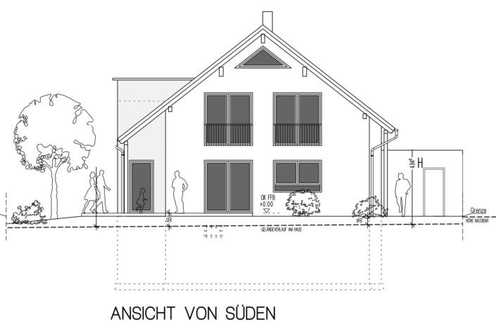 Einfamilienhaus mit 171 qm, Ansicht Süd