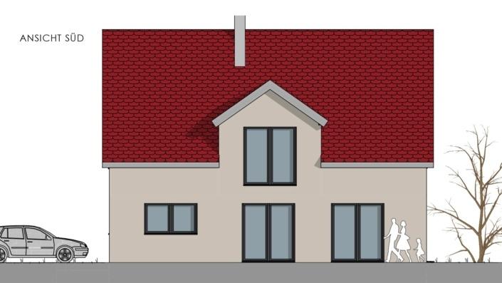 Einfamilienhaus mit 178 qm, Ansicht Süd