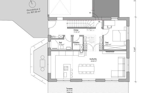 Einfamilienhaus mit 178 qm, Grundriss EG