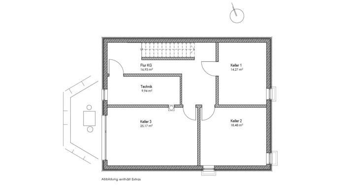 Einfamilienhaus mit 178 qm, Grundriss KG