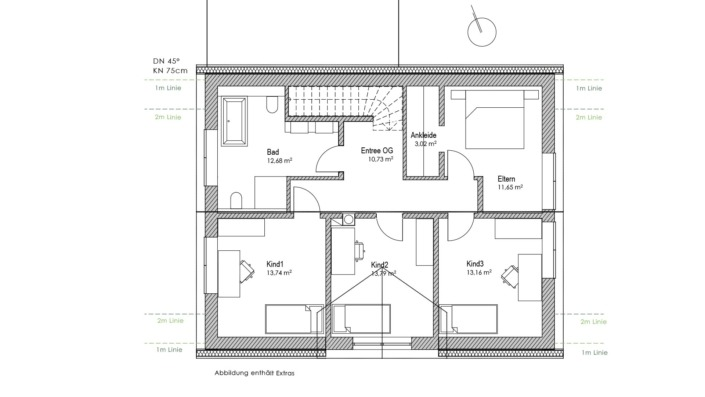 Einfamilienhaus mit 178 qm, Grundriss OG