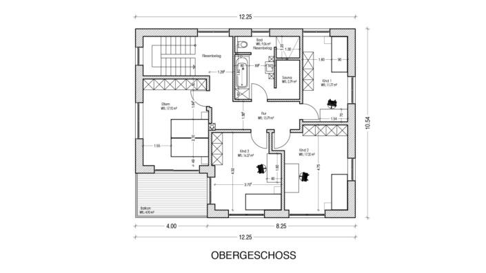 Einfamilienhaus mit 183 qm, Grundriss Obergeschoss