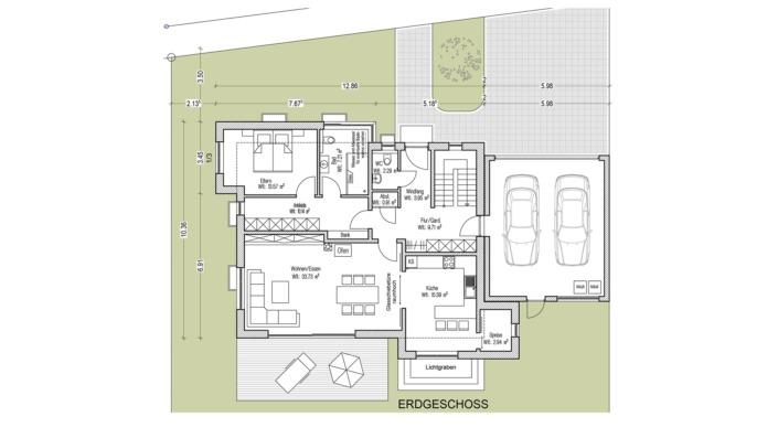 Einfamilienhaus mit 185 qm, Grundriss Erdgeschoss