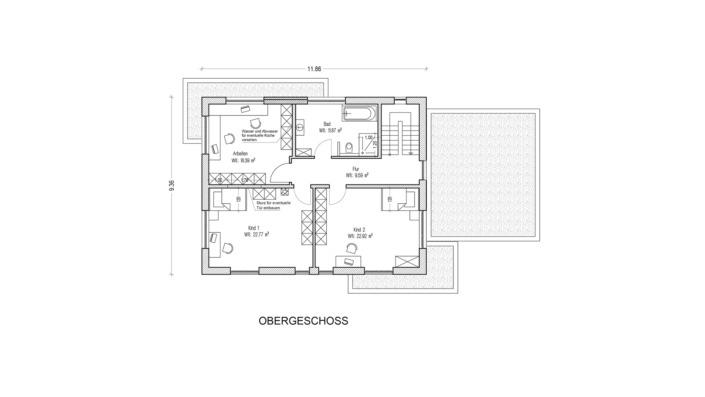 Einfamilienhaus mit 185 qm, Grundriss Obergeschoss