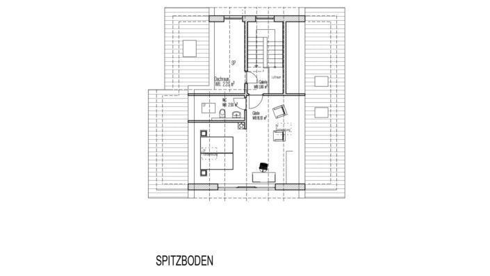 Einfamilienhaus mit 185 qm, Grundriss Spitzboden