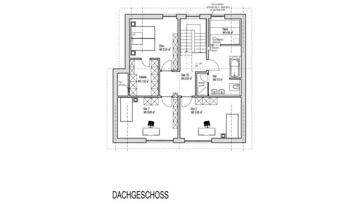 Einfamilienhaus mit 185 qm, Grundriss Dachgeschoss