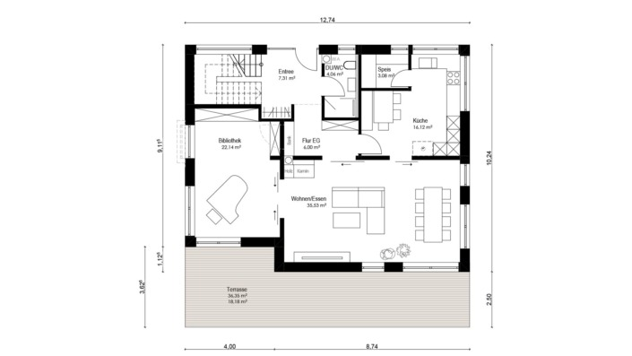 Einfamilienhaus mit 187 qm, Grundriss Erdgeschoss