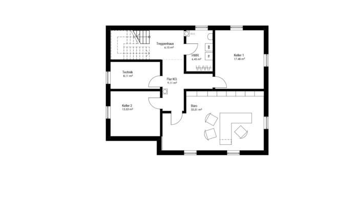 Einfamilienhaus mit 187 qm, Grundriss Keller