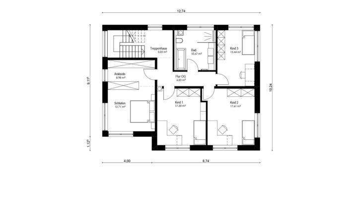 Einfamilienhaus mit 187 qm, Grundriss Obergeschoss