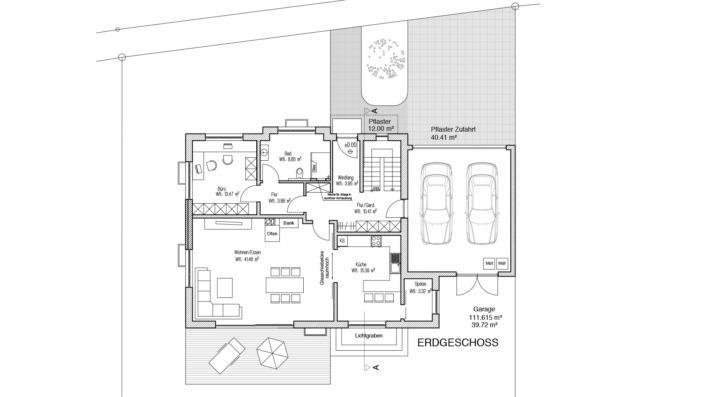 Einfamilienhaus mit 188 qm, Grundriss Erdgeschoss