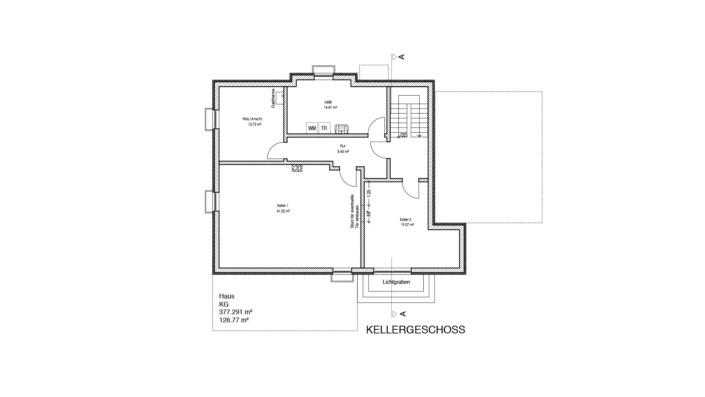 Einfamilienhaus mit 188 qm, Grundriss Keller