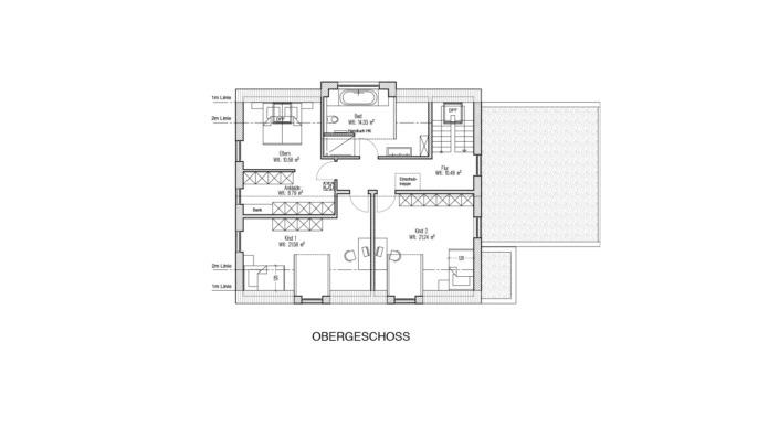 Einfamilienhaus mit 188 qm, Grundriss Obergeschoss