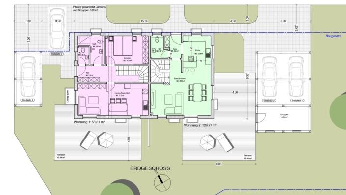 Einfamilienhaus mit Einliegerwohnung, 189 qm, Grundriss Erdgeschoss