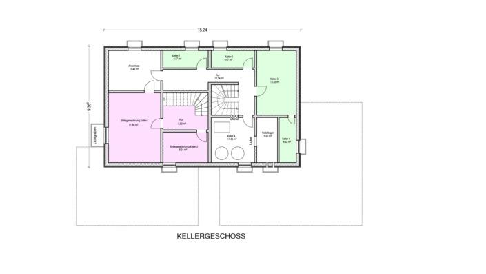Einfamilienhaus mit Einliegerwohnung, 189 qm, Grundriss Keller