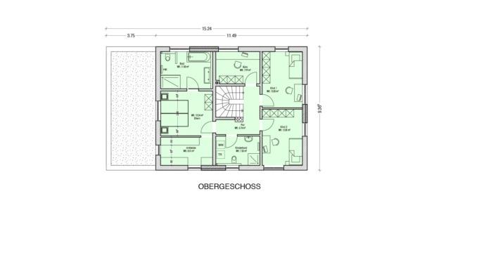 Einfamilienhaus mit Einliegerwohnung, 189 qm, Grundriss Obergeschoss