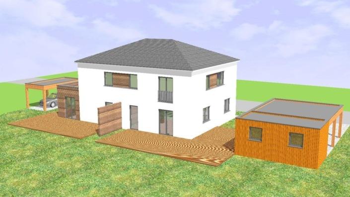 Einfamilienhaus mit Einliegerwohnung, 189 qm, Ansicht Süd, Vogelperspektive