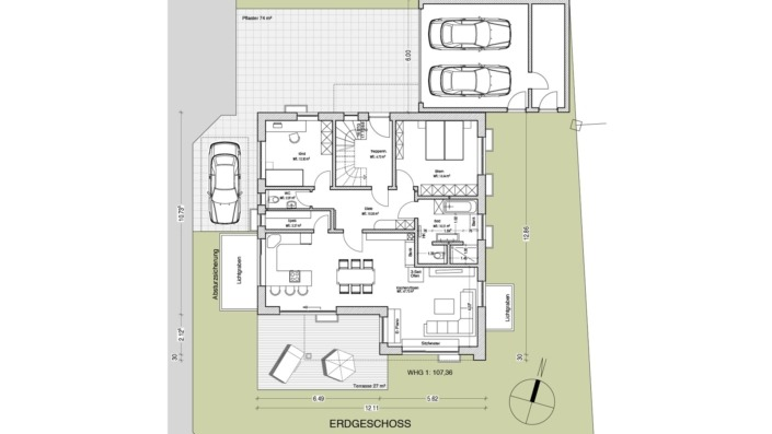 Einfamilienhaus mit Einliegerwohnung, 205 qm, Grundriss Erdgeschoss