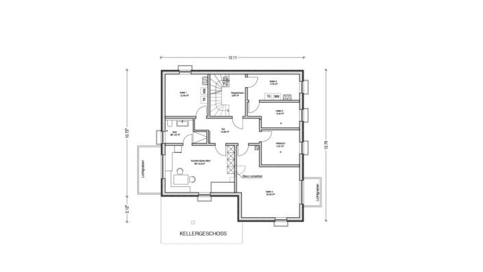 Einfamilienhaus mit Einliegerwohnung, 205 qm, Grundriss Keller