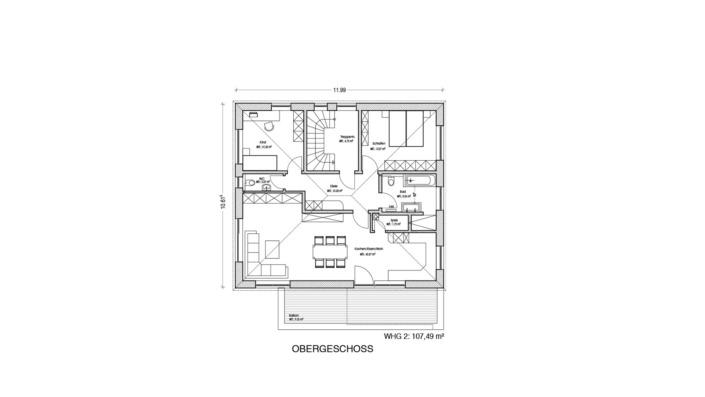 Einfamilienhaus mit Einliegerwohnung, 205 qm, Grundriss Obergeschoss