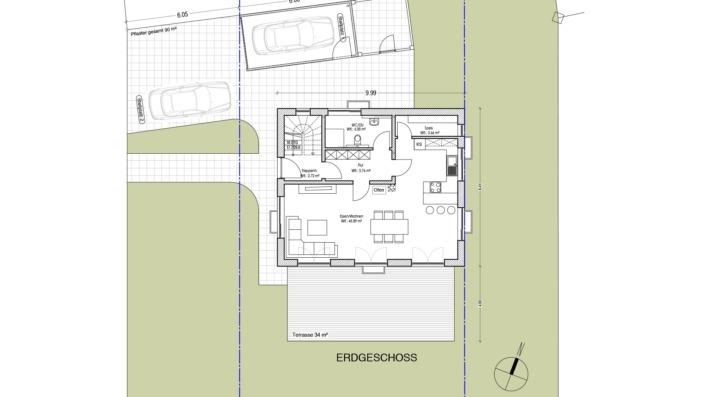 Einfamilienhaus mit 170 qm, Grundriss EG