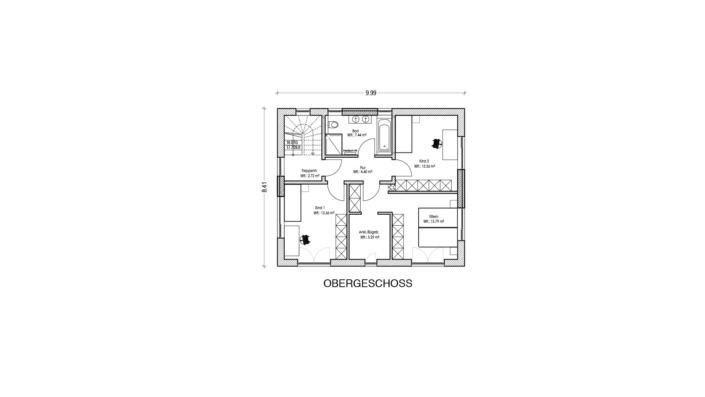 Einfamilienhaus mit 170 qm, Grundriss OG