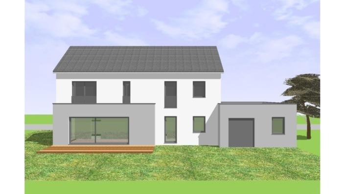 Einfamilienhaus mit 165 qm ohne Keller, Ansicht Süd-Südwest