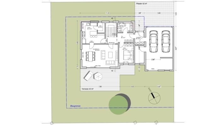 Einfamilienhaus mit 165 qm ohne Keller, Grundriss Erdgeschoss
