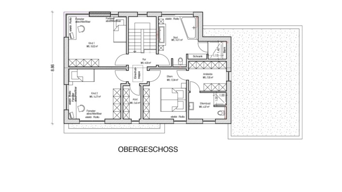 Einfamilienhaus mit 165 qm ohne Keller, Grundriss Obergeschoss
